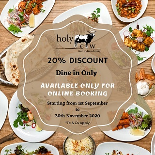 20% Discount from 1st September to 30th November 2020